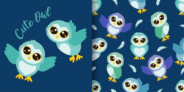 Cute owl cartoon animal seamless pattern with illustration card set