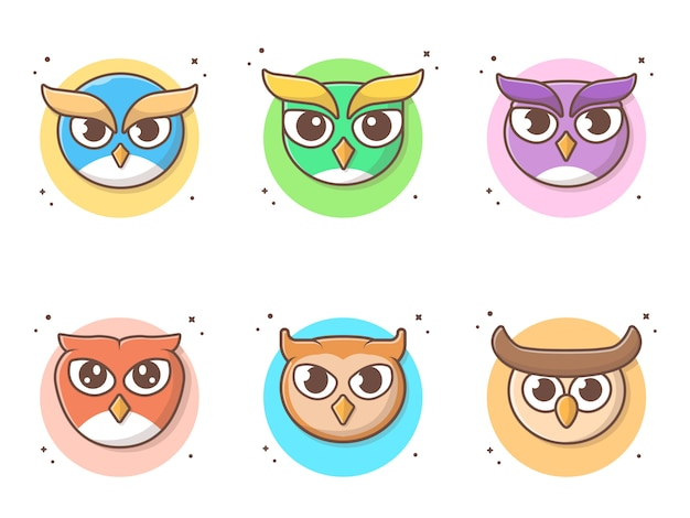 Cute owl cartoon collections vector icon illustration