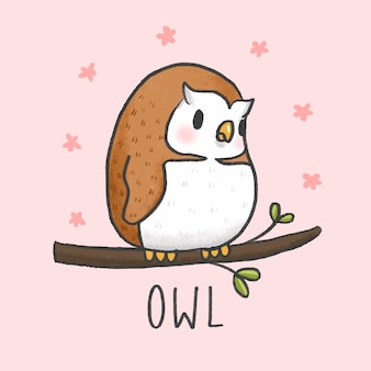 Cute owl cartoon hand drawn style