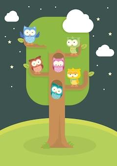 かわいいオウルの漫画の木の中の隔離されたベクトルセット