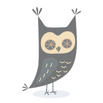 Cute owl in cartoon style owl character vector illustration for print design for tshirts posters