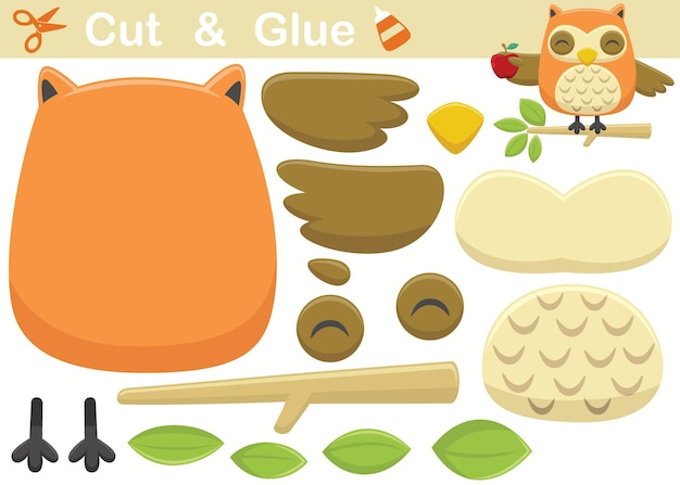 Cute owl cartoon on tree branches while holding a fruit. cutout and gluing