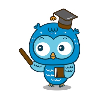 Cute owl cartoon of vector (teacher: education)