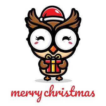 크리스마스를 축하하는 귀여운 올빼미