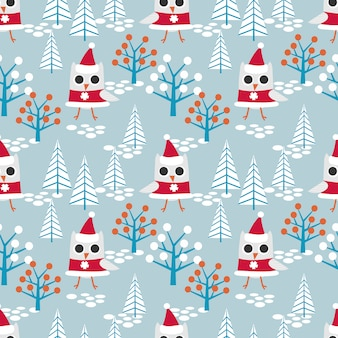 Cute owl on christmas theme seamless pattern.