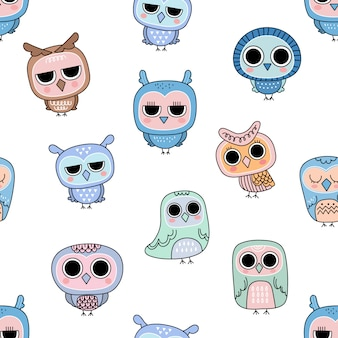 Cute owl doodles seamless pattern.