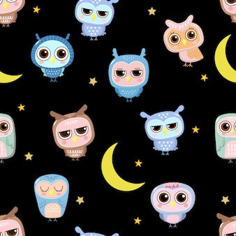 Cute owl doodles with the moon and star seamless pattern.