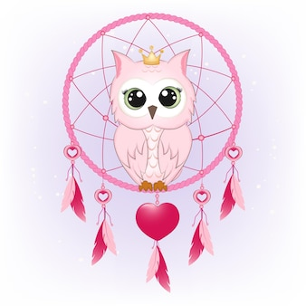 Cute owl and dream catcher illustration