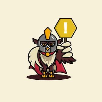 かわいいフクロウの剣闘士のキャラクターデザイン