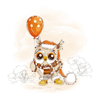 Cute owl in a hat with a pompom and a knitted scarf holds a balloon.