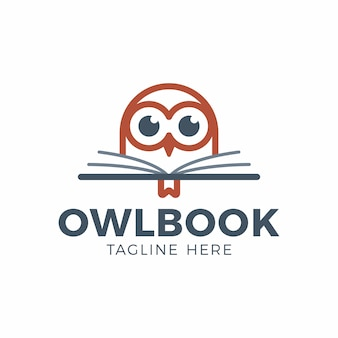 Cute owl head with book education logo