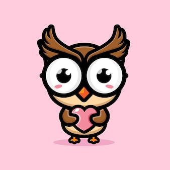 Cute owl hugging love heart