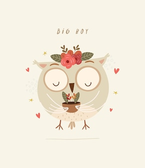 Cute owl illustration holding houseplant