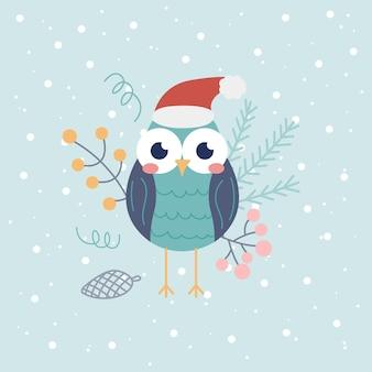 雪片と装飾的な要素と明るい背景の上のサンタ帽子のかわいいフクロウ