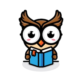 Cute owl is reading a book