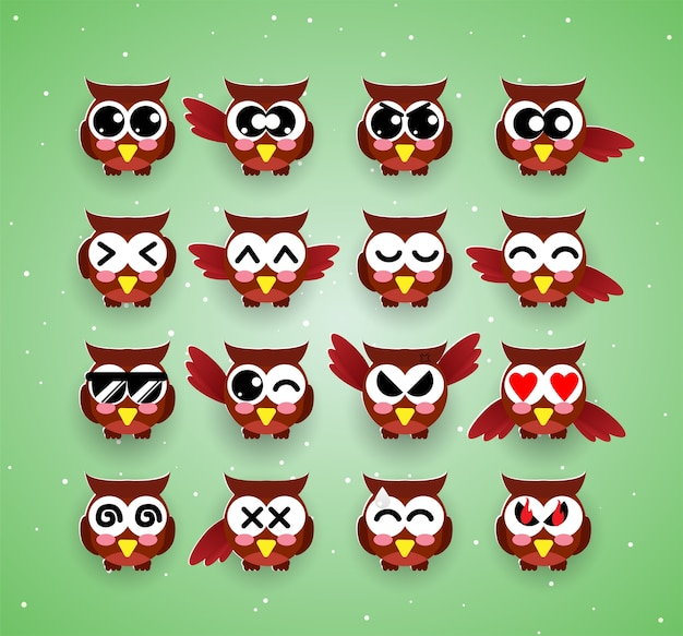 Cute owl kawaii emotion,emoji,halloween