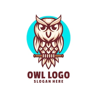 Cute owl logo design vector