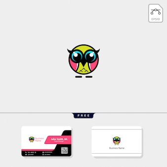 Cute owl logo and get free business card design