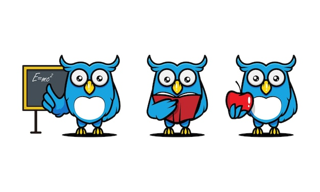Cute owl mascot design illustration, education-related