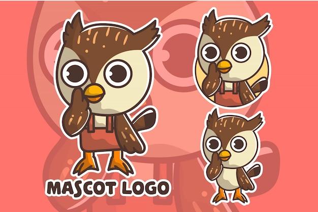 Cute owl mascot logo set
