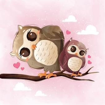 Cute owl mom and child