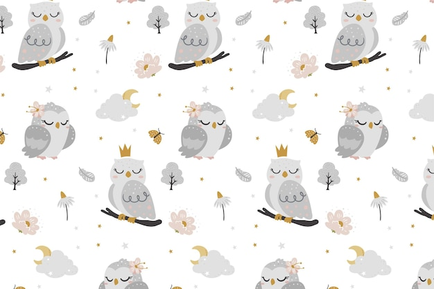 Cute owl pattern for baby shower Premium Vector