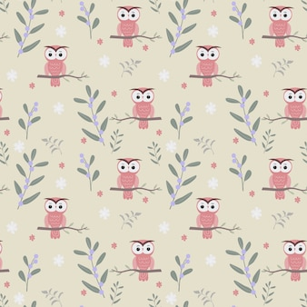 Cute owl and plants seamless pattern