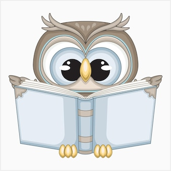 Cute owl reading a book vector illustration
