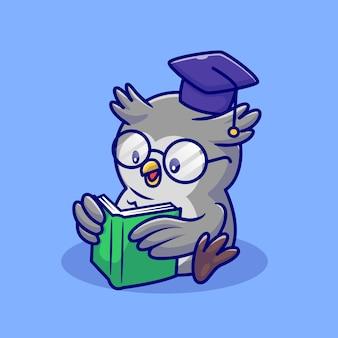 Милая сова читает книгу с очками и выпускной крышкой