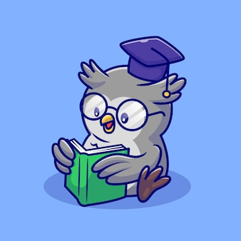 Cute owl reading book with eyeglasses and graduation cap