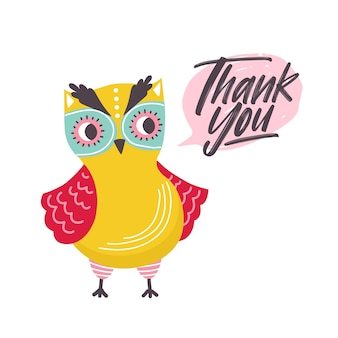 Cute owl saying thank you word