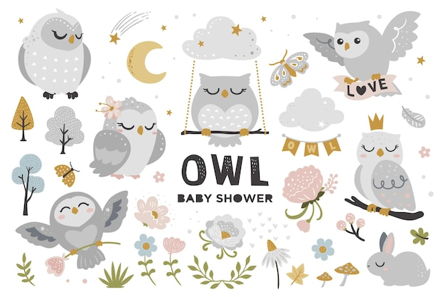 Cute owl set for baby shower Premium Vector