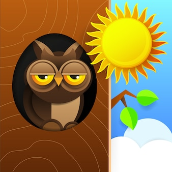 Cute owl sitting in hollow of tree, hollowed out old tree and cute animal cartoon