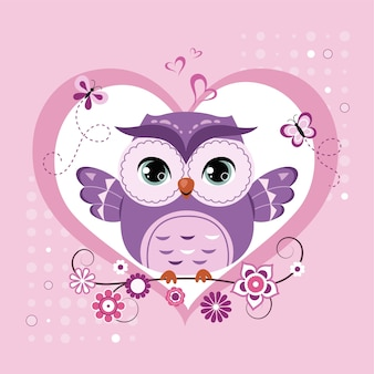 Cute owl sitting on the tree branch over the heart shape.