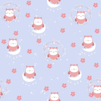 Cute owl in the sky seamless pattern