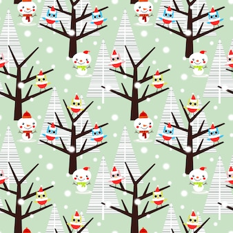 Cute owl and snowman in christmas season seamless pattern.