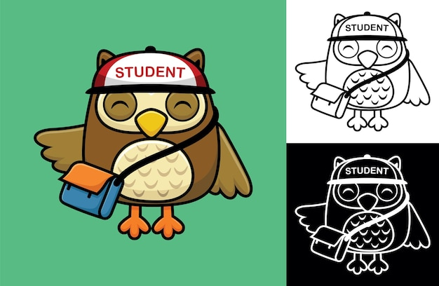 Cute owl wearing hat while carrying bag. vector cartoon illustration in flat icon style