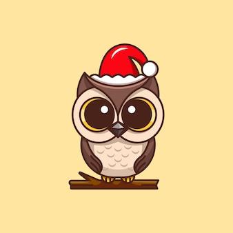 산타 클로스 모자 그림을 입고 귀여운 올빼미