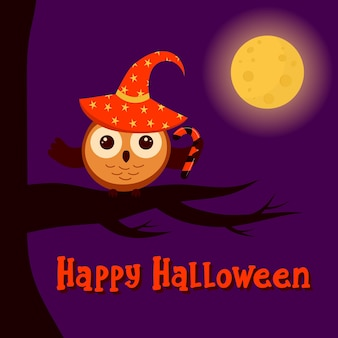 Cute owl in witch hat with candy is sitting on a branch moon is shining happy