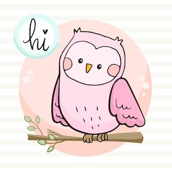 Милая сова с иллюстрацией приветствия спокойной ночи