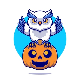 Cute owl with pumpkin halloween cartoon illustration. flat cartoon style