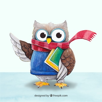 Cute owl with scarf and books