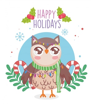 Cute owl with scarf and candy canes branches merry christmas