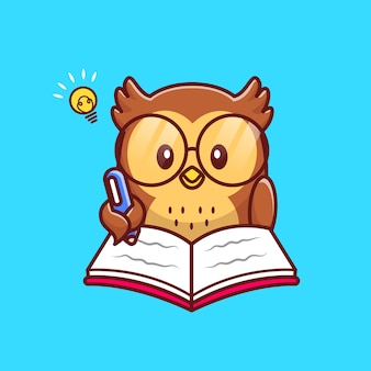 Cute owl writing on book with pen cartoon icon illustration. animal education icon concept isolated premium . flat cartoon style