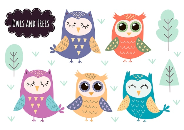 Cute owls collection. forest animals isolated elements