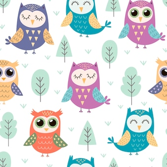 Cute owls seamless pattern