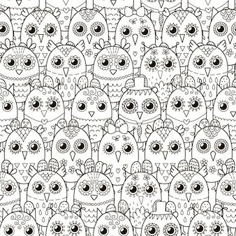 Симпатичные совы бесшовные модели.