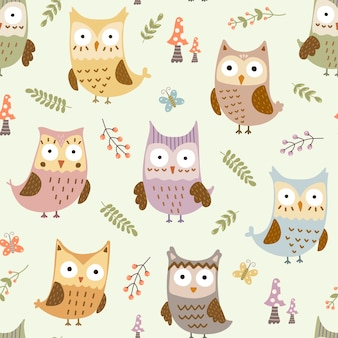 Cute owls seamless pattern.