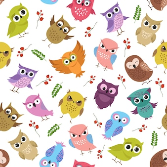 Cute owls vector seamless pattern