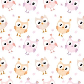Cute owls with big eyes on a white background are isolated. children's seamless pattern for textiles, fabrics, packaging, wallpaper in the children's room. vector cartoon drawing of an owl for a child